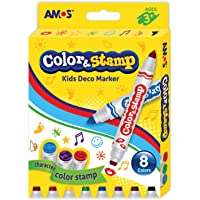 Amos Cs8P Baski Kalemi Color & Stamp 8'Li, 12 Renk