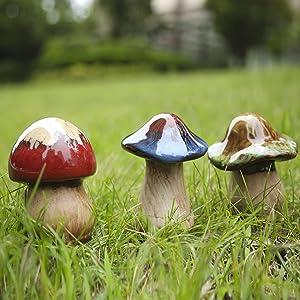 Garden Decor,Mushroom Statue Decor 3pcs Ceramic Mushroom for Garden, Home Decor,Yard, Fairy Garden - Lawn Ornament Décor, Pottery Ornament BFF Gifts (3PCS)