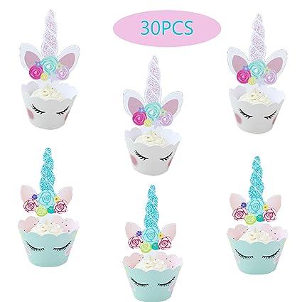 30 piezas de decoración para tartas de unicornio y Superman ...