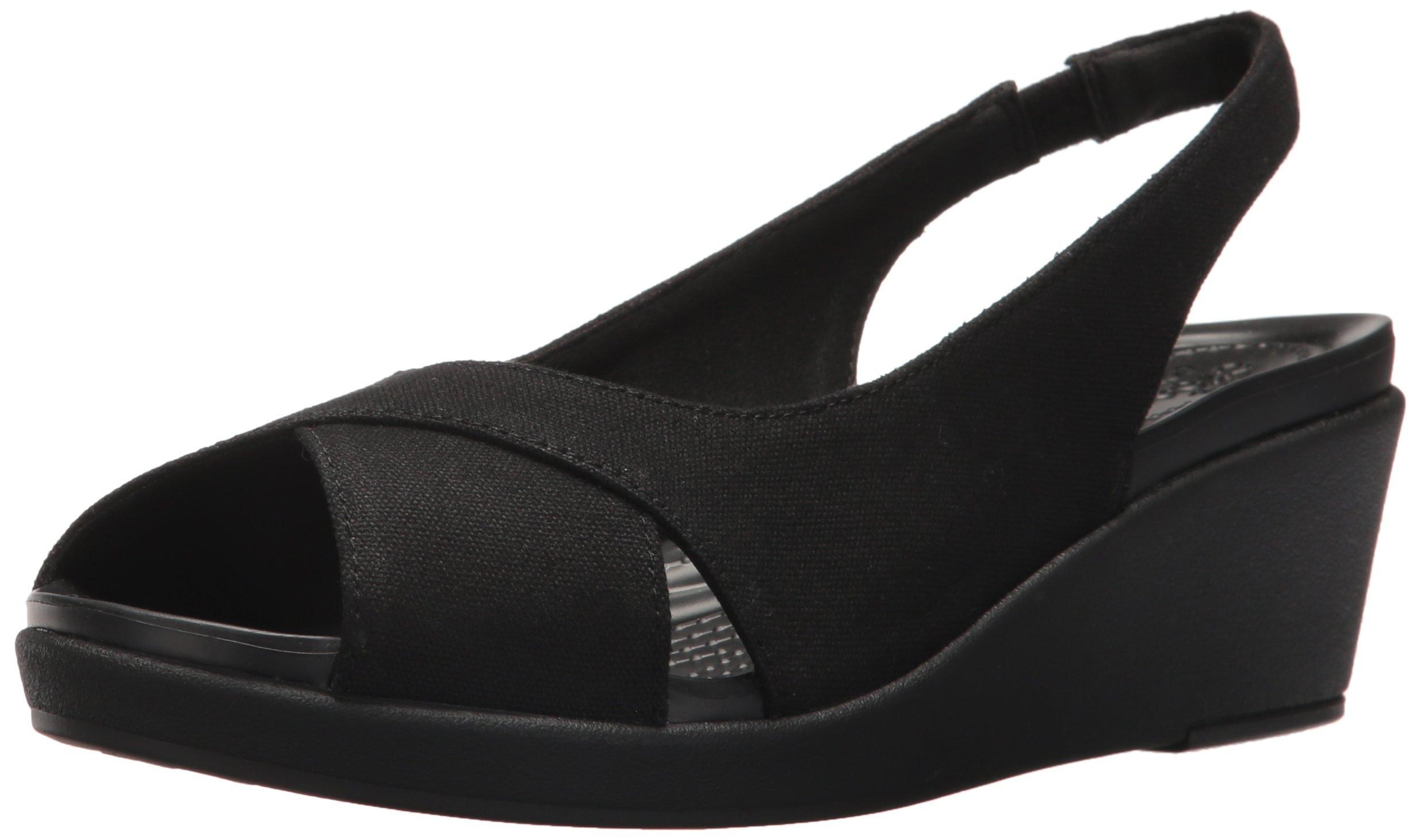 Crocs Women's Leigh Ann Slingback Wedge Sandal, Black/Black, 8 M US