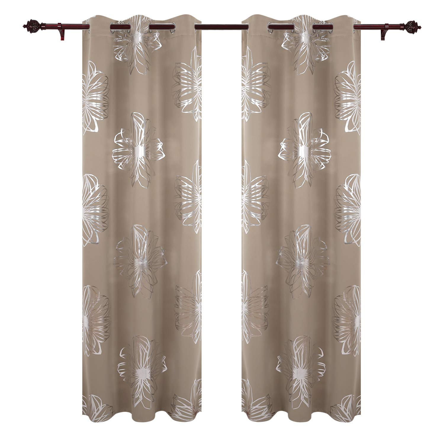 Deconovo Home Decoration Foil Print Floral Curtains Eyelet Thermal Insulated Blackout Curtains for Kids Room 55x68in Beige 1 Pair