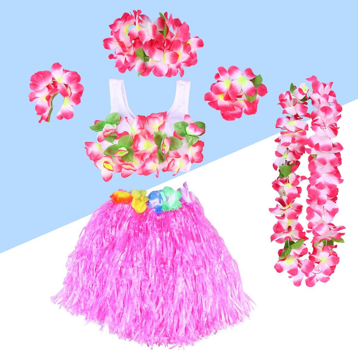 7627d7c61 BESTOYARD Conjunto de Disfraces de Hula Hawaiana para Niños con Pulseras  Diadema de Flor Falda Rosado ...