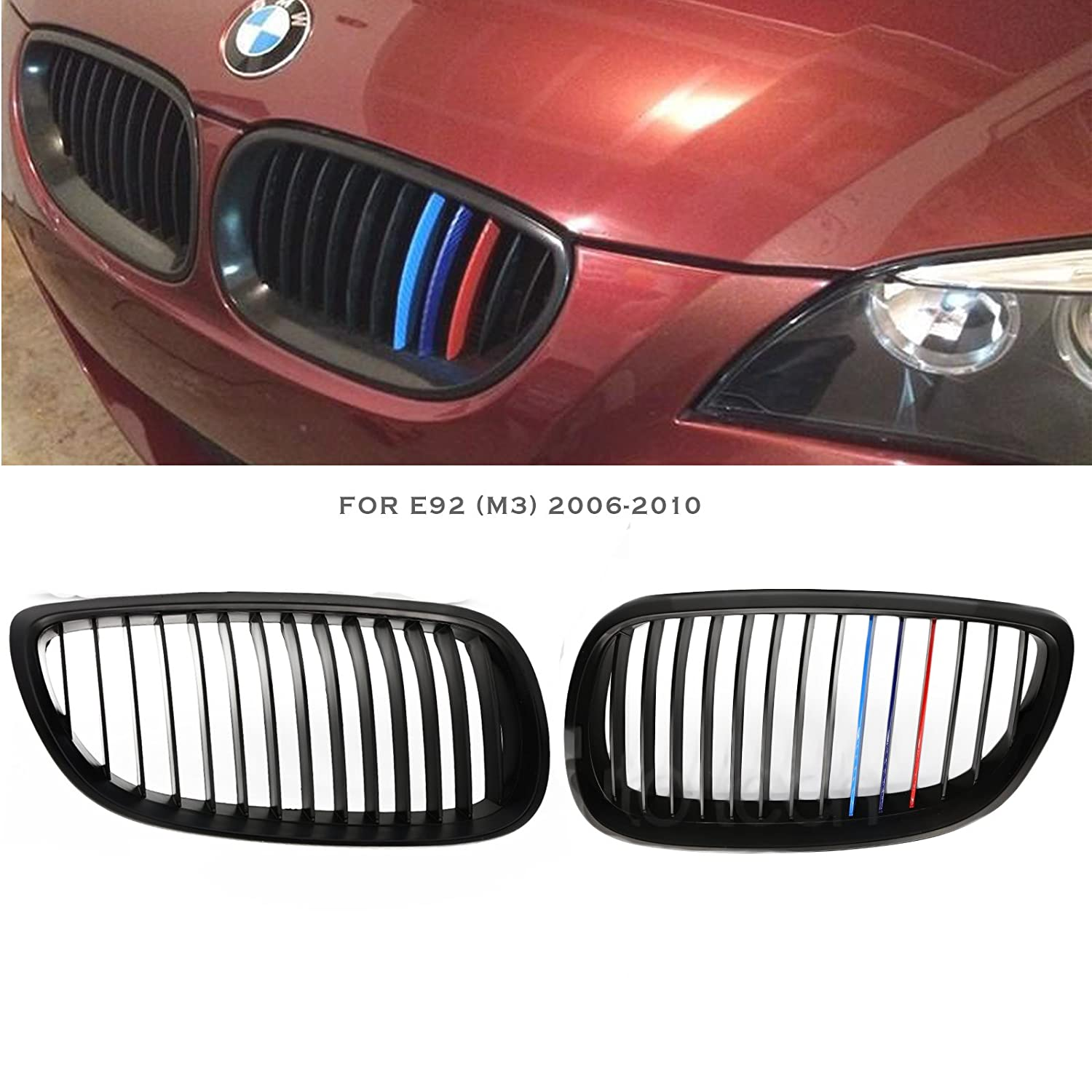 Syneticusa Matte Black Front Kidney Grille Grill 2pcs ///M for BMW 2006-2010 E92 3-Series 2 Door Coupe DT Trading