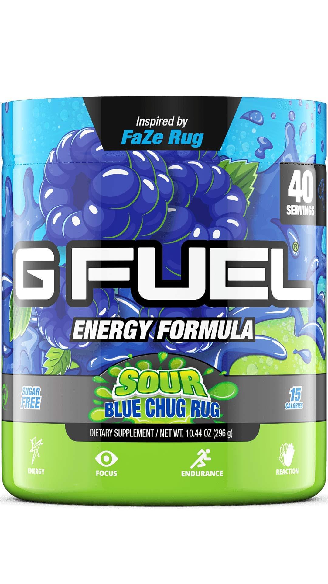 G Fuel Sour Blue Chug Rug Tub (40 Servings) Elite Energy and Endurance Powder Inspired by Faze Rug 10.44 oz.
