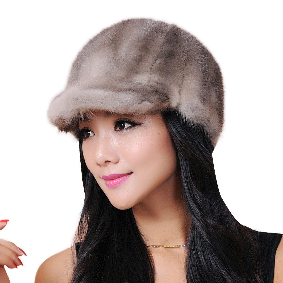 URSFUR Women's Mink Fur Riding Hats Multicolors (Gray)