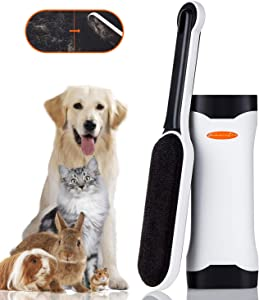 Lint Brush Pet Hair Remover - Reusable Cat Hair Removal Pet Hair Remover for Furniture Clothes Sturdy Handle Great Gift for Pet Owner (Upgrade Version Black)