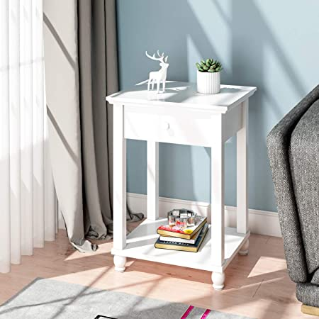 Beliwin White Sofa Side End Table Square With Drawer And Shelf Storage Living Room Small Bedside Table Bedroom Home Furniture Amazon Co Uk Kitchen Home