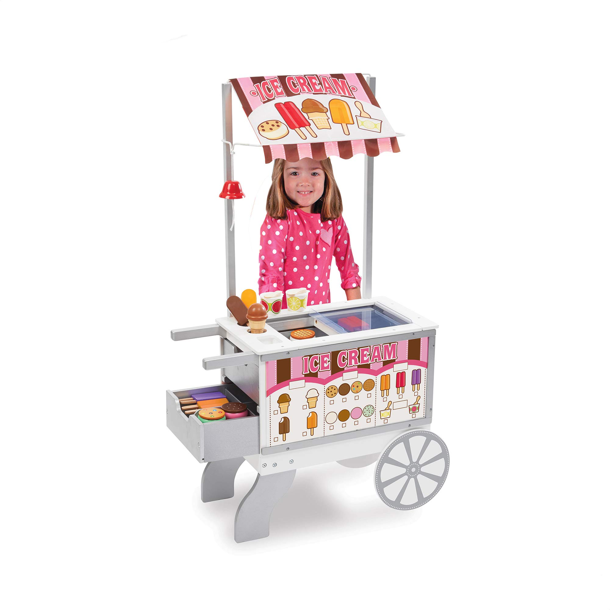 Melissa & Doug Wooden Snacks & Sweets Food Cart (Play Sets & Kitchens, 40+ Play Food Pieces, 49'' H x 25.5'' W x 13.5'' L, Great Gift for Girls and Boys - Best for 3, 4, 5, 6, and 7 Year Olds) by Melissa & Doug