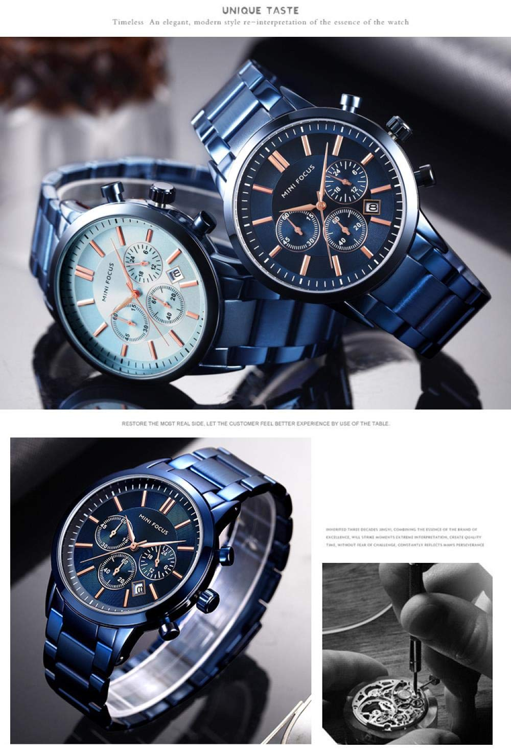 Herrklockor, trend multifunktionell mode kalender vattentät stålband klocka Blue Surface Blue Steel Strip
