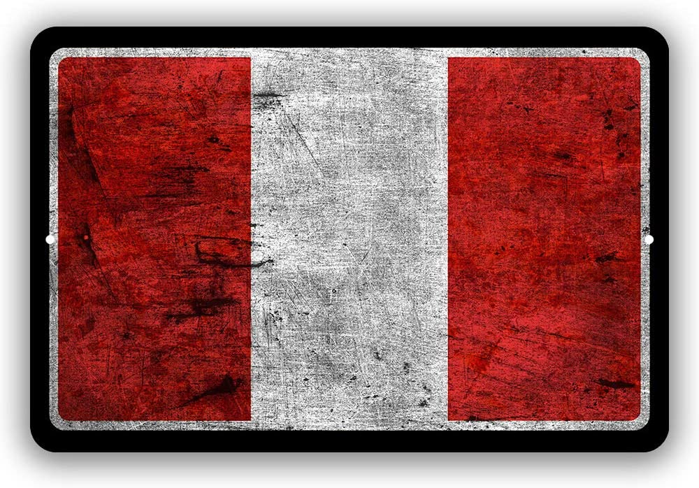 Peru Country Flag Man Cave Metal Decor Tin Sign Indoor and Outdoor use 8