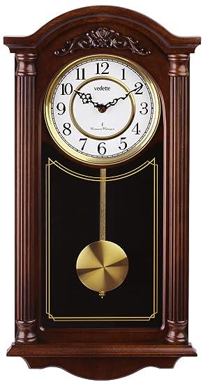 Vedette VP60001 - Reloj de pared analógico de pendulo de cuarzo - madera: Amazon.es: Relojes
