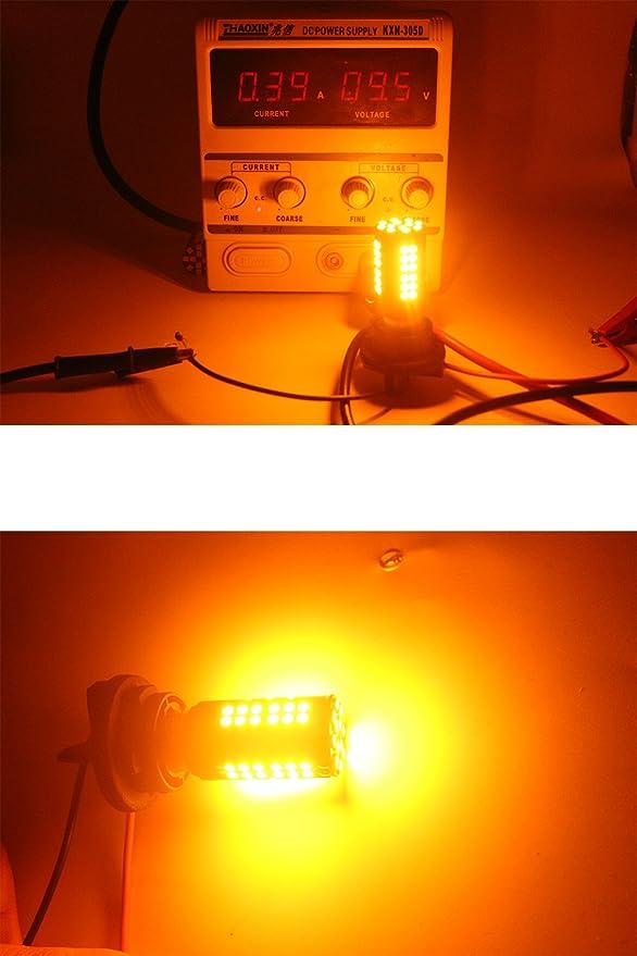 Peut-/être Besoin de R/ésistances de Charge pour Fixer Lampoule LED Rapide Hyper Flash AMAZENAR Paquet de 2-1056 BAU15S 7507 12496 1156PY Ampoule//Clignotant 3030 60SMD /à Del Non-Polarit/é Ampoule