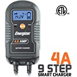 Energizer ENC4A 4 Amp Battery Charger with LCD + Maintainer 6/12V - 9 Step Smart Charging technology will improve your battery's life cycle for Car, RV & Boat
