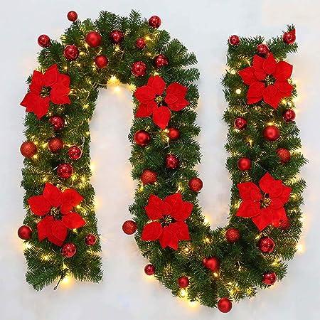 YDBET Decoración de Navidad de la Guirnalda de Luces de la Escalera Chimenea Iluminado LED Multicolor con la Guirnalda de la Guirnalda Artificial de Bricolaje de Navidad 2.7M,Rojo: Amazon.es: Hogar