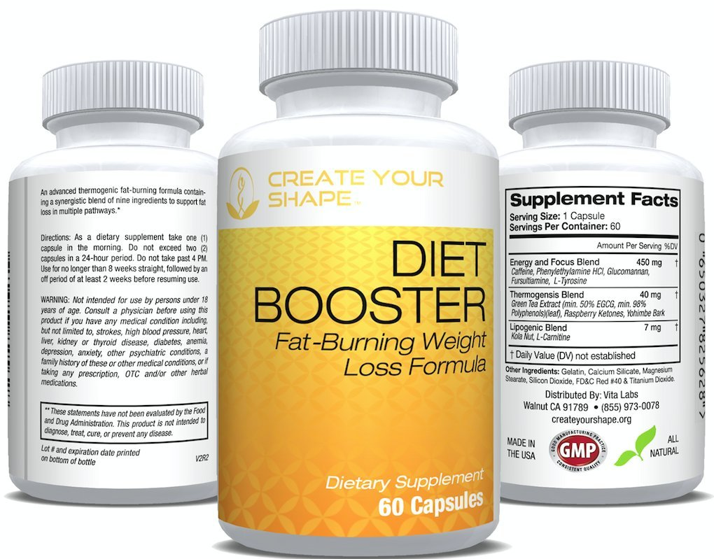 Diet Booster Thermogenic Fat Burner - Diet Pill System - Weight Loss Supplement & Appetite Suppressant - Energy Booster - Highest Rated Pharmaceutical Grade - Fast Weight Loss by Create Your Shape