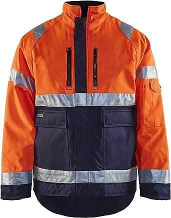 Blaklader Workwear High Vis Winter Jacket Orange//Navy Blue