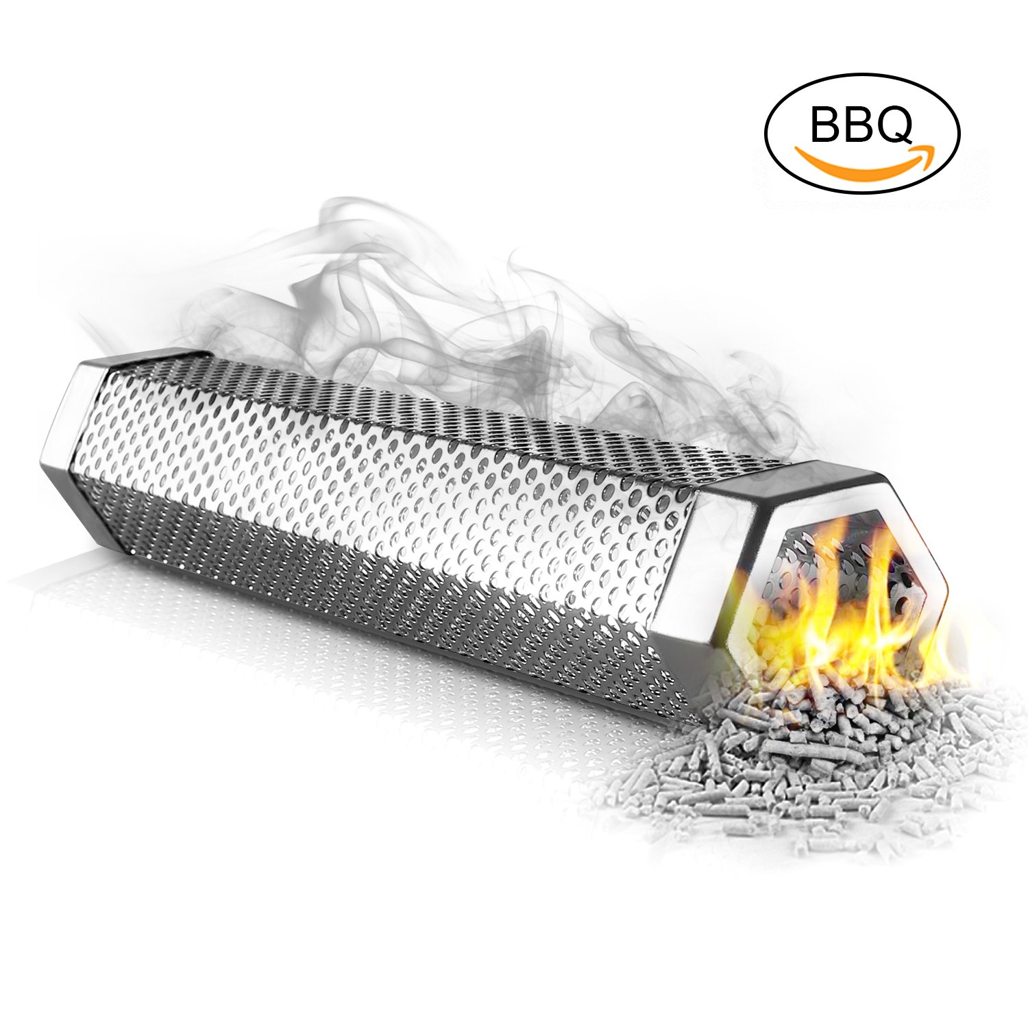 HOMEASY Wood Pellet Smoker Tube for Any Grill Electric Gas Charcoal 12'' 5 Hours Billowing Cold & Hot Smoking Chip Smoke Cheese Fish Pork Beef Nuts - Hexagon