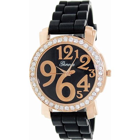 Geneva Platinum 1309.ROSEGOLD.BLACK Mujeres Relojes