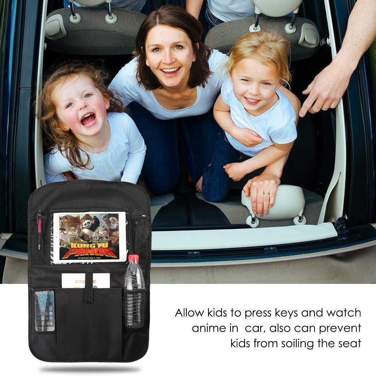 2Pack Kick Mats Car Backseat Organizer B/éb/é Enfant Enfants Jouet Auto Arri/ère de Protecteur De Si/ège avec 1 Bo/îte De Tissu Clair Support iPad 3 Sacs De Rangement Imperm/éable /À Leau