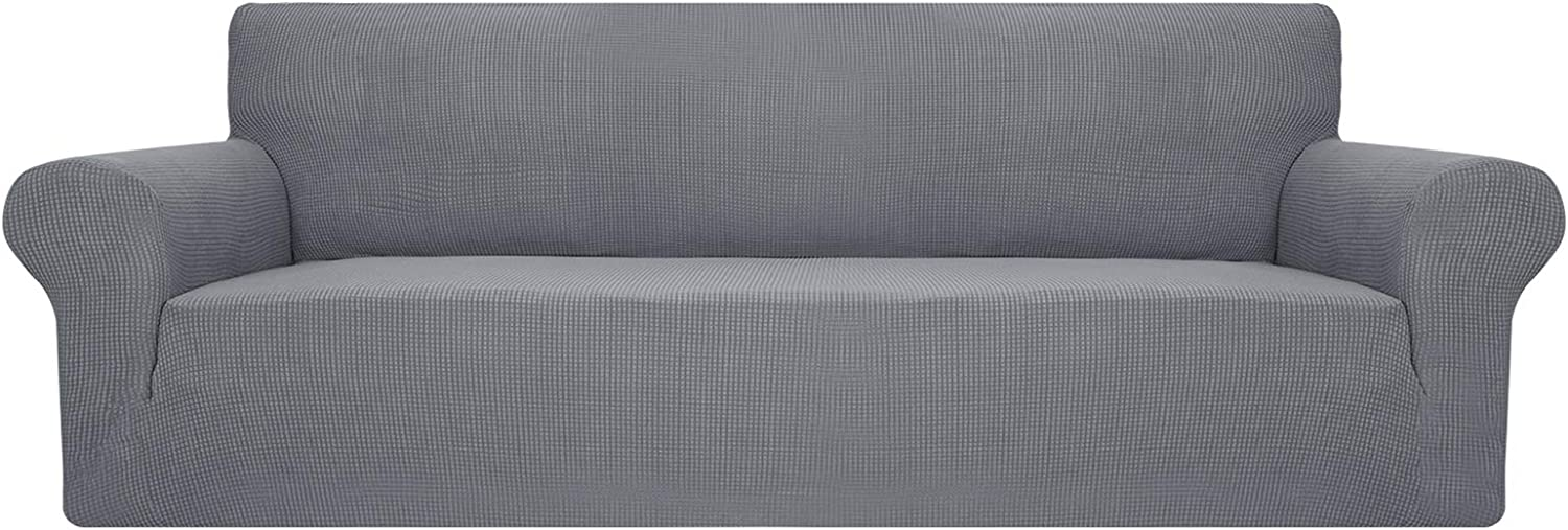 YUUHUM Sofa Cover Stretch Jacquard Couch Covers for 3 Cushion Couch Universal Fitted Sofa Slipcovers Living Room Non Slip Spandex Furniture Protector with Elastic Bottom (Sofa, Light Gray)
