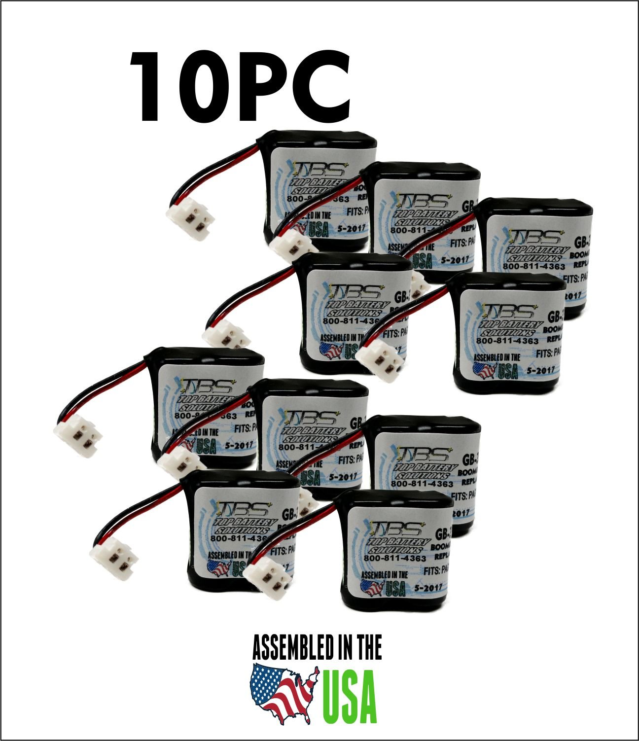 10PC GP35AAAH2BMX,GP-35AAAH2BMX,PAG003 Pager Battery, 2.4V, 400mAh, NiMH, PGB-35AAAH2BMX by TOP BATTERY SOLUTIONS