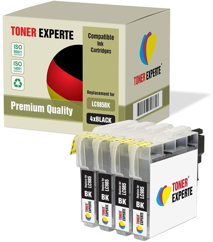 4 XL TONER EXPERTE® Compatibles LC985BK LC985 Cartuchos de Tinta para Brother DCP-J125, DCP-J140W, DCP-J315W, DCP-J515W, MFC-J220, MFC-J265W, ...