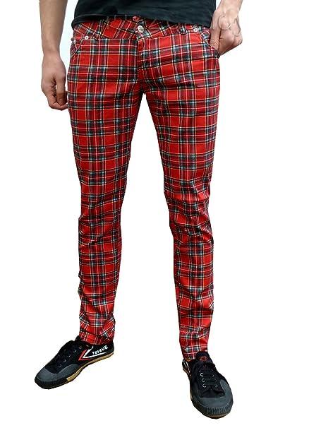 "1097da737ede Fuzzdandy Mens Tartan Drainpipe Pants Red Check Skinny Slim Mod Punk Jeans  (28"" Waist"