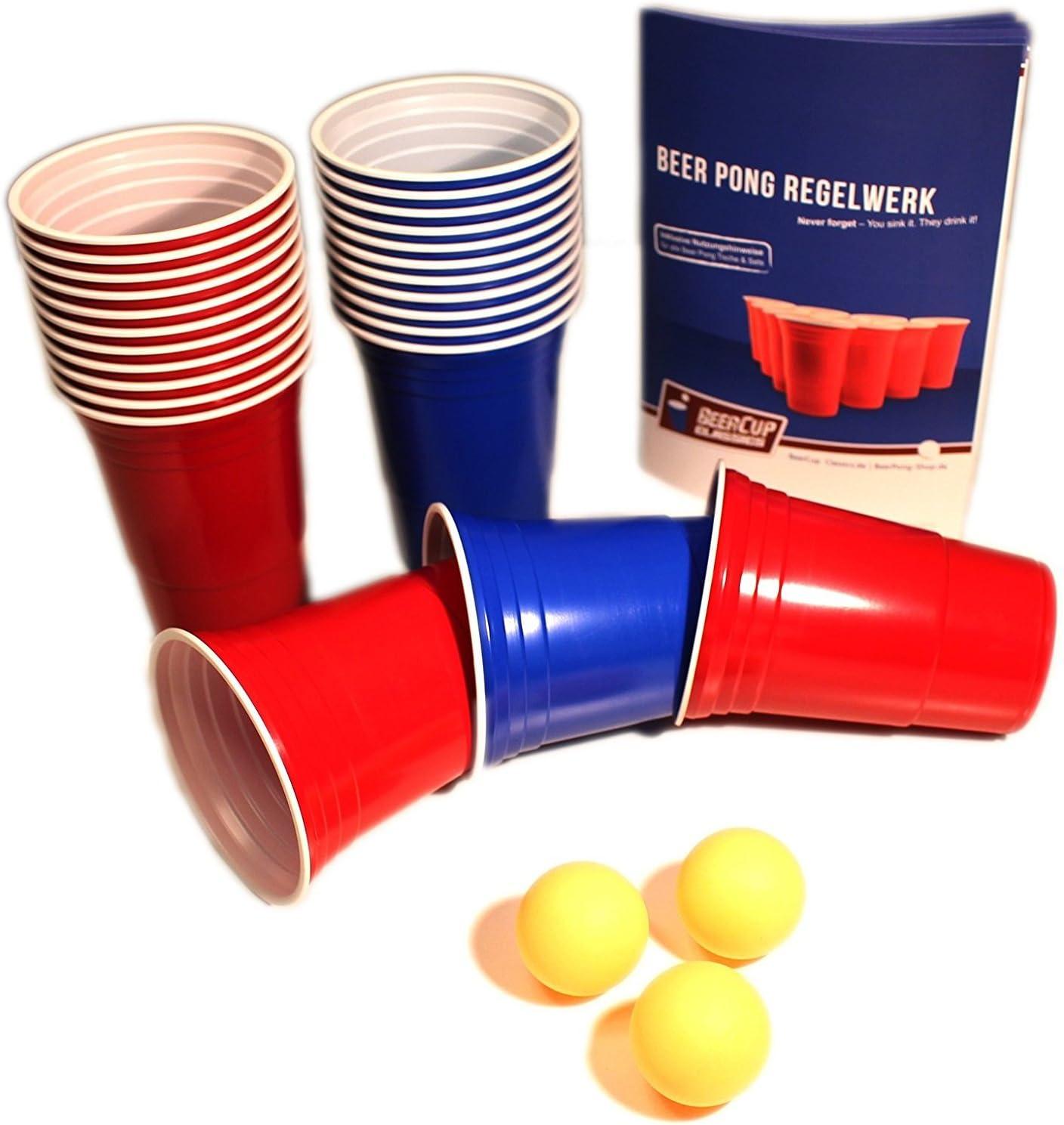 Red & Blue Beer Cups Party Pack – Vaso para Fiesta Azul & Rojo & Beer Pong Incluye pelotas y regla de, 500 Rote & 500 Blaue Becher: Amazon.es: Hogar