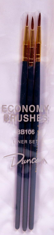 Duncan Ceramics 3 Piece Economy Liner Brush Set BB106
