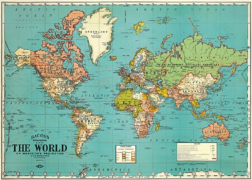 Amazon bacons standard map of the world circa 1930 18x27 amazon bacons standard map of the world circa 1930 18x275 poster office products gumiabroncs Image collections