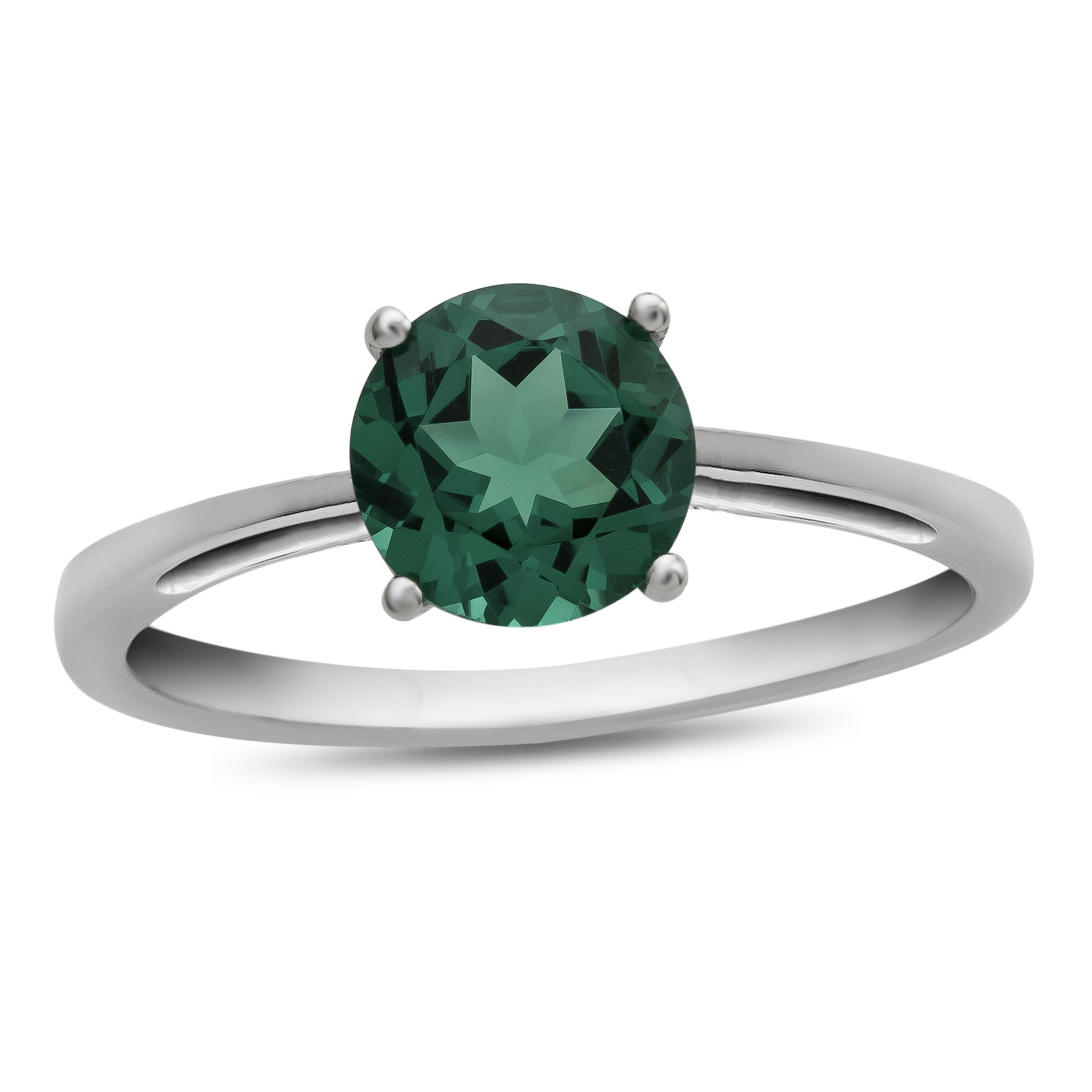 10k White Gold 7mm Round Simulated Emerald Ring Size 6