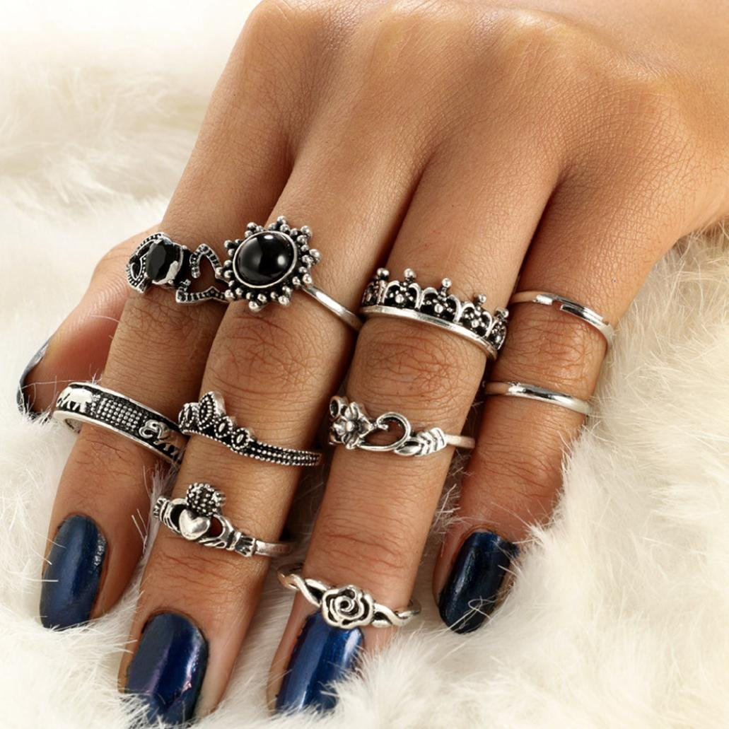 Dener for Women Girl Lady Couple Punk Rock Silver Boho Stack Plain Knuckle Wedding Elegant Ring Jewelry Accessories for Engagement