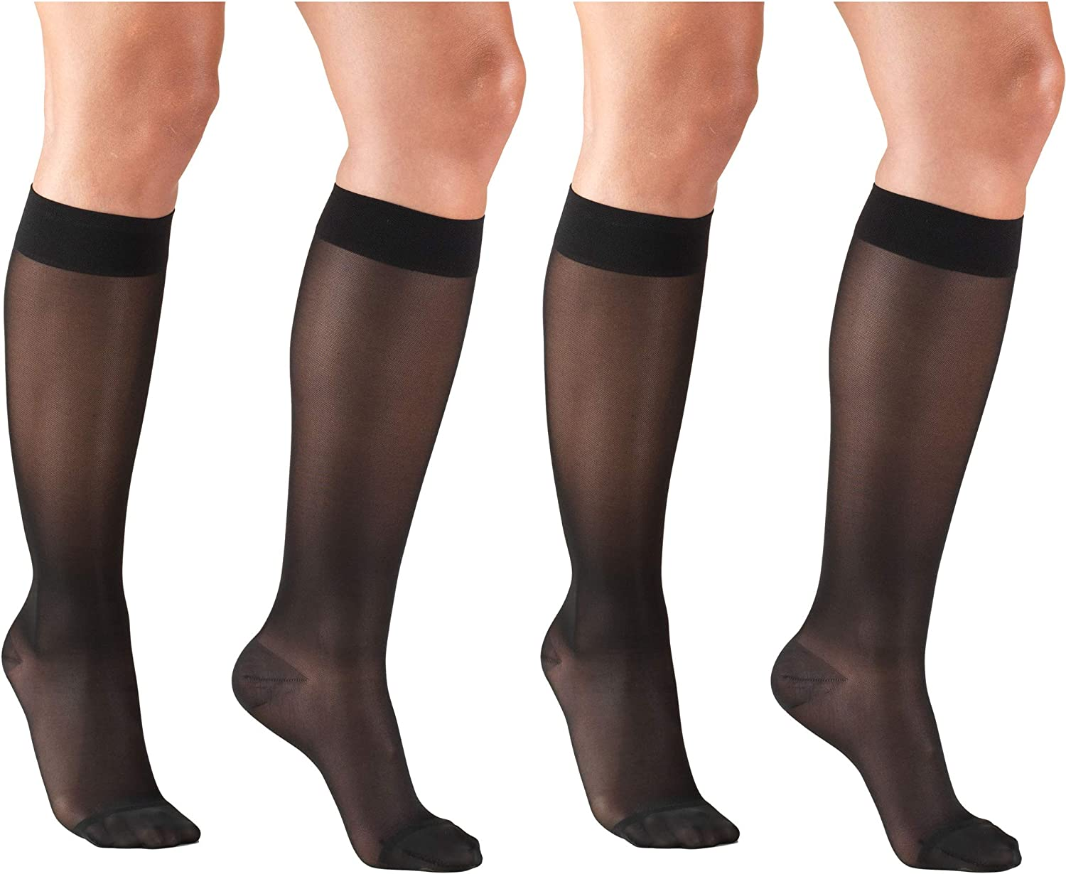 Medium Black Pack of 2 Truform Mens Knee High 15-20 mmHg Compression Dress Socks