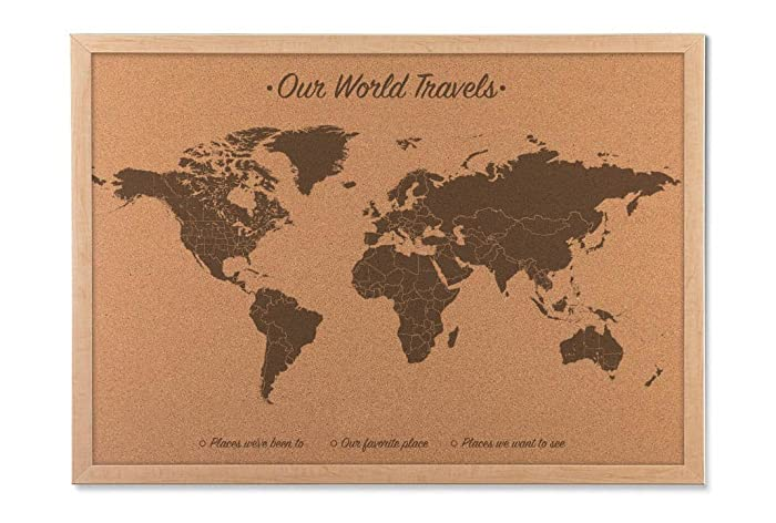 push pin world map cork board map includes 100 map pins wood anniversary gift