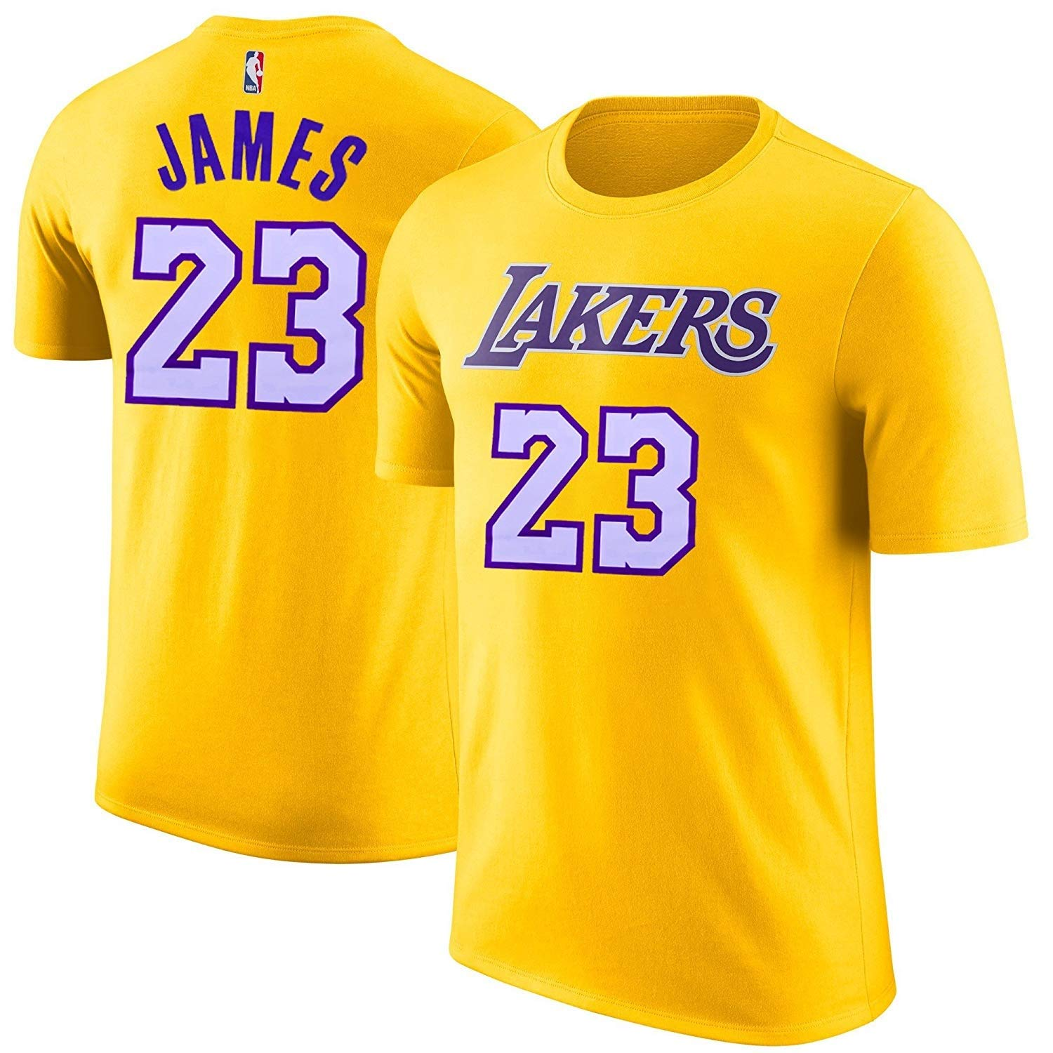 934033ef3 Top4  Outerstuff LeBron James Los Angeles Lakers Yellow Youth Name   Number  Jersey T-Shirt