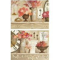 Dcine Cuadros Vintage Motivo Floral Tonos Rosa