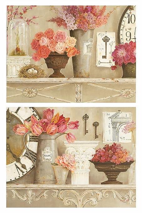 Dcine Cuadros Vintage Motivo Floral Tonos Rosa Y Pastel Set 2 Unidades 19 Cm X 25 Cm Unid