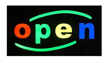Cartel abierto de negocios con iluminación LED: Amazon.es ...