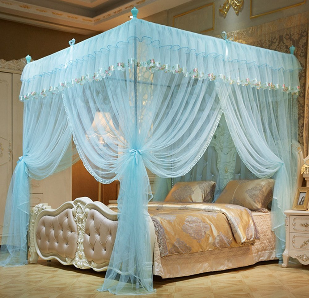 Mengersi 4 Corners Bed Curtain Canopy Mosquito Netting For Girls Bed Canopies Child Gift (Twin, Sky Blue)