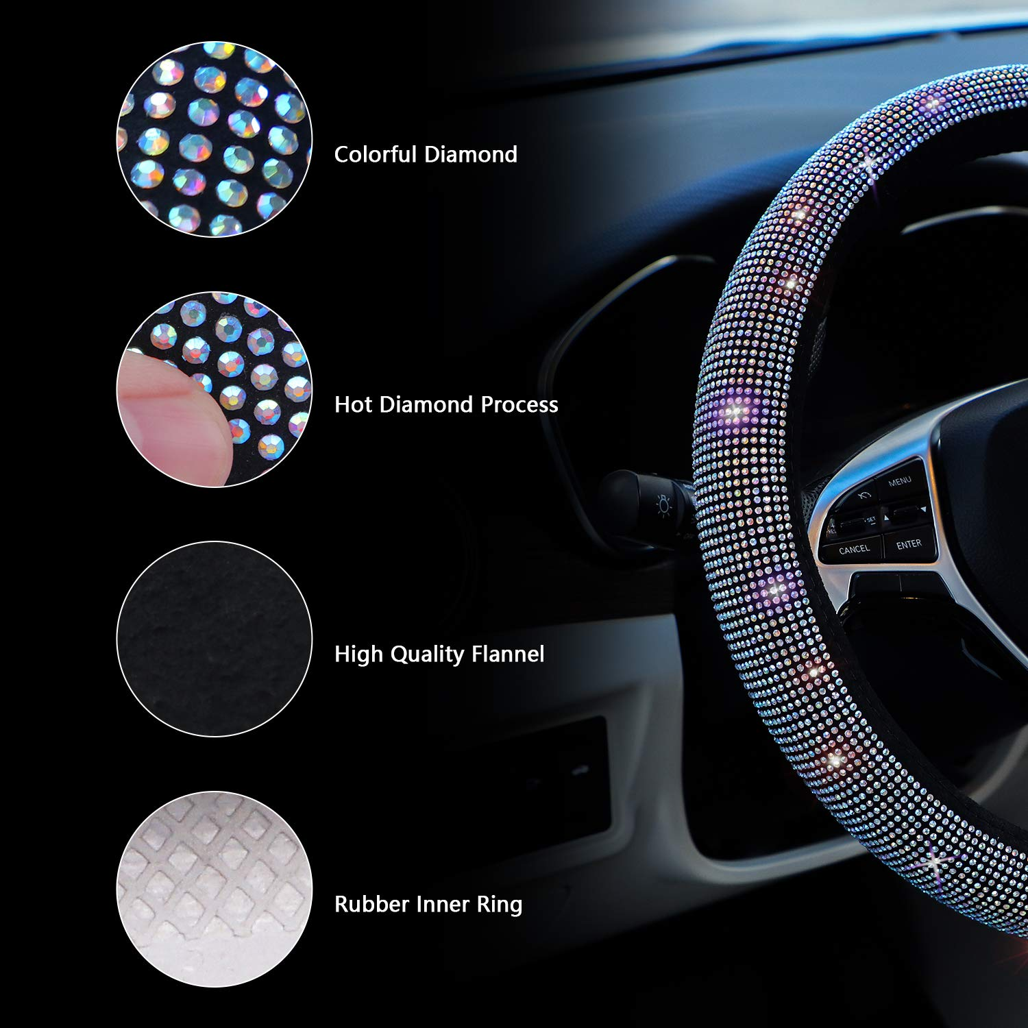 Small Size 14 inches-14 1//4 inches Colorful Bling Anti-Slip Wheel Protector Car Sparkly Steering Wheel Cover for Women Girls Black for Prius Civic Model 3 Camaro Spark Rogue Mini Smart Audi