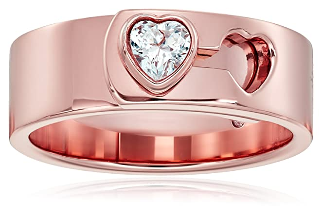 Michael Kors Rose Gold Tone Heart Lock Ring, Size 7