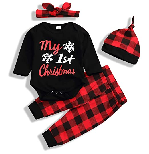 f706b3005c01 Newborn Baby Boys Girls Long Sleeve Bodysuit and Plaid Pants Leggings Hat  4pcs Christmas Outfits Set