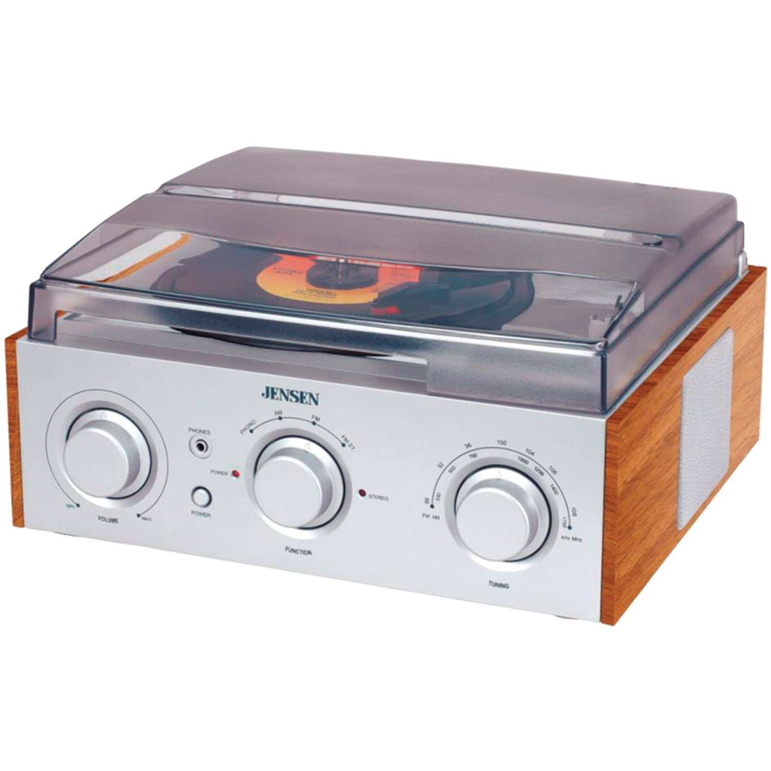 Amazon.com: Jensen 3 Speed Stereo Turntable With AM/FM Stereo Radio  (Silver): Home Audio U0026 Theater