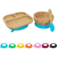 Tiny Dining Children's Bamboo Cereal/Dessert Bowl with Stay Put Suction & Soft Tip Spoon