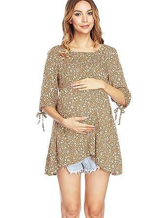 6a4f143d1fd32 Kamaitachi Womens 3/4 Sleeve Summer Thin Pregnancy Wear Top Maternity  Blouses Shirts,Beige