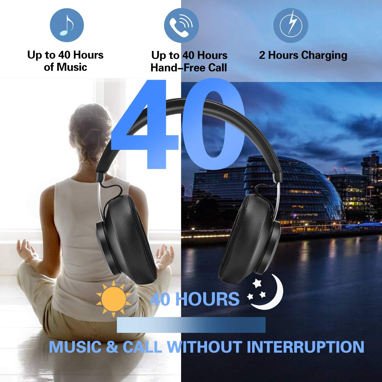 Bluetooth 5.0 Kabellose Kopfhörer, YINSAN Wireless Stereo Headset Drahtlose Kopfhörer Ohrhörer On Ear mit Mikrofon, Memory-Protein Ohrpolster für iPhone/iPad/Android/Notebook/PC - 2019 Neueste