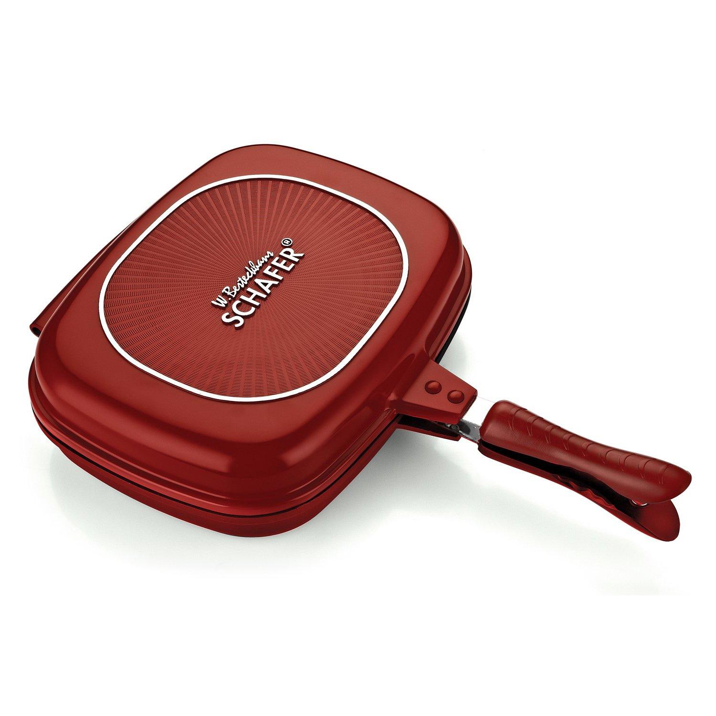 Pastor Gloria Granite parrilla Pan Double rojo 32 cm: Amazon.es: Hogar