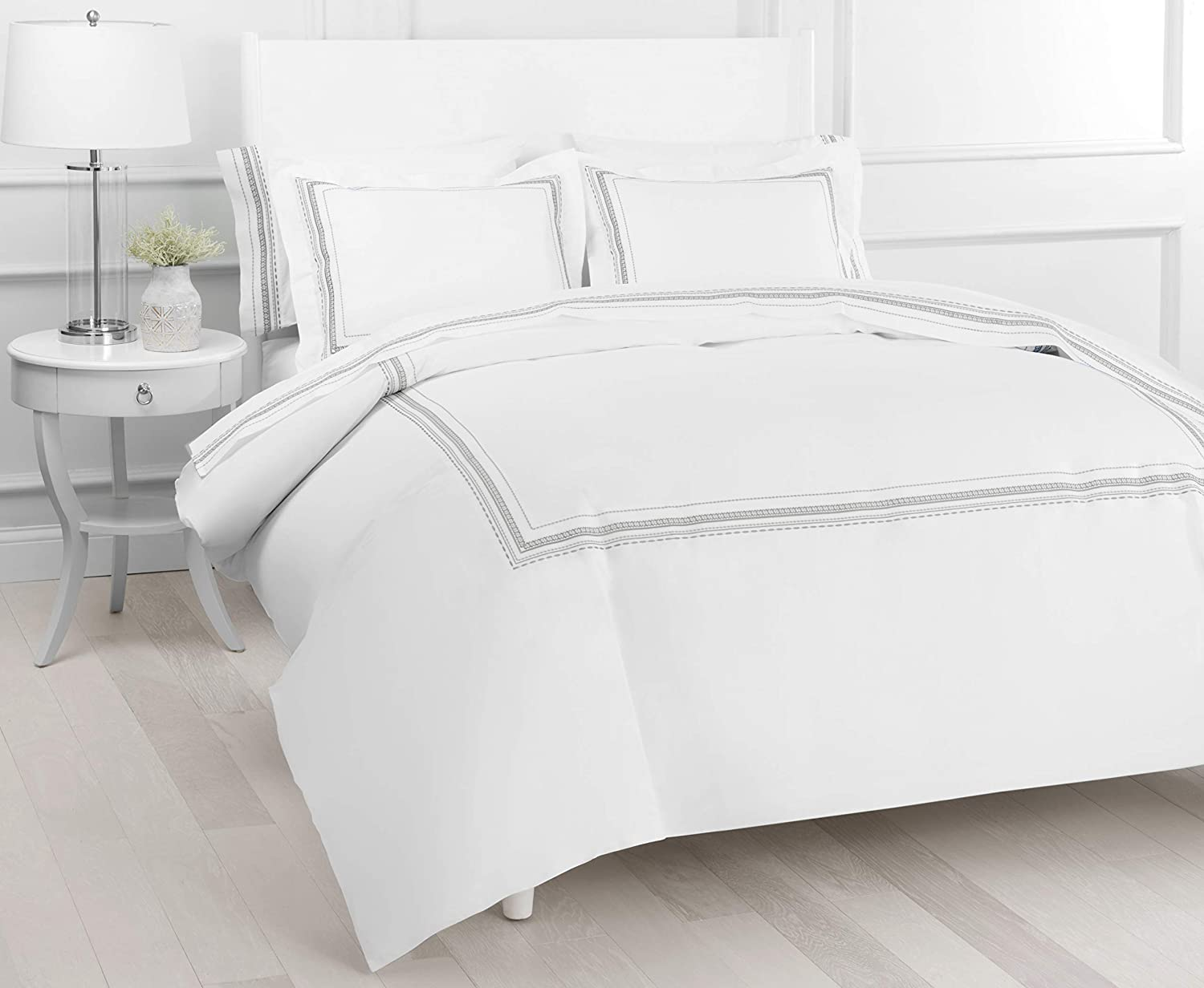 Melange Home Percale Cotton Vinsley Embroidery Duvet Set, Full/Queen, Grey on White
