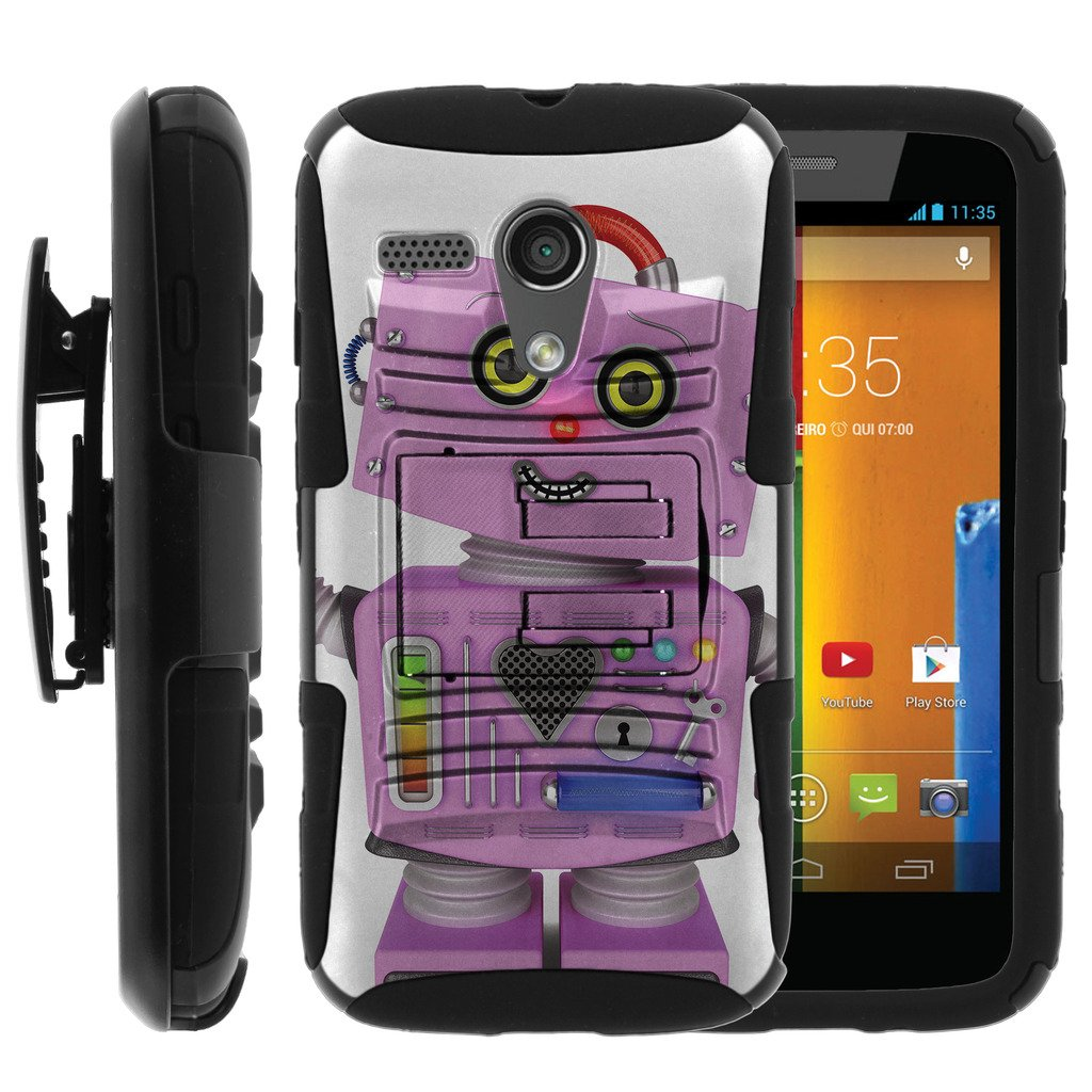 TurtleArmor   Motorola Moto G Case (1st Generation)   XT1032 [Hyper Shock] Armor Rugged Solid Hybrid Cover Stand Impact Silicone Belt Clip Robot Android Design - Purple Robot