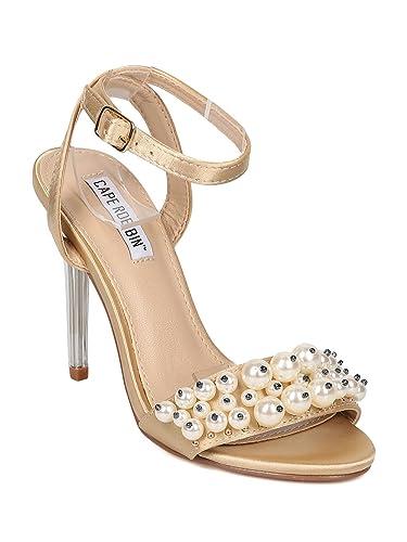 04f18e85fc5 CAPE ROBBIN Women Satin Faux Pearl Ankle Strap Lucite Stiletto Sandal HJ26  - Nude Satin (